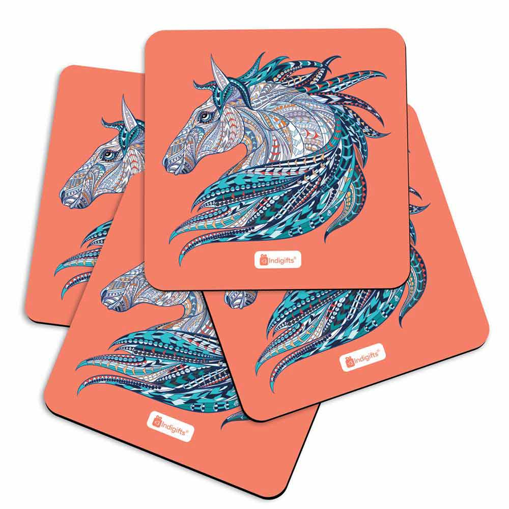 Illustration of Ethnic Patterned Unicorn's Head in the Zentangle Style Orange Coasters