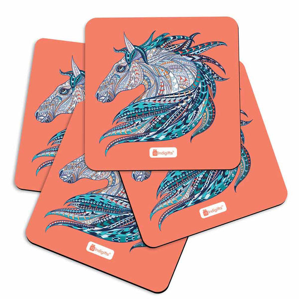 Indigifts Illustration of Ethnic Patterned Unicorn's Head in the Zentangle Style Orange Coasters