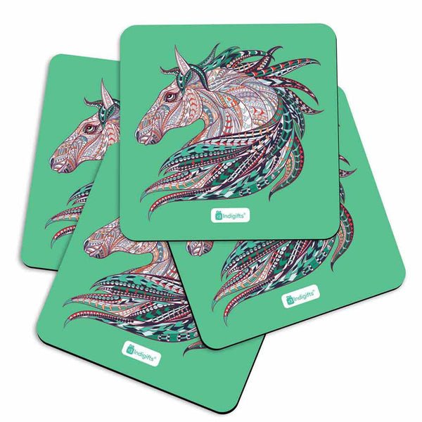 Illustration of Ethnic Patterned Unicorn's Head in the Zentangle Style Green Coasters