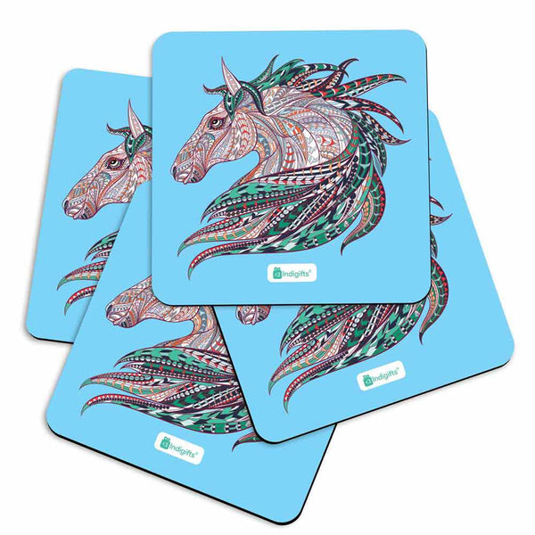 Illustration of Ethnic Patterned Unicorn's Head in the Zentangle Style Blue Coasters