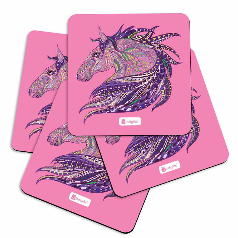 Indigifts Illustration of Ethnic Patterned Unicorn's Head in the Zentangle Style Pink Coasters