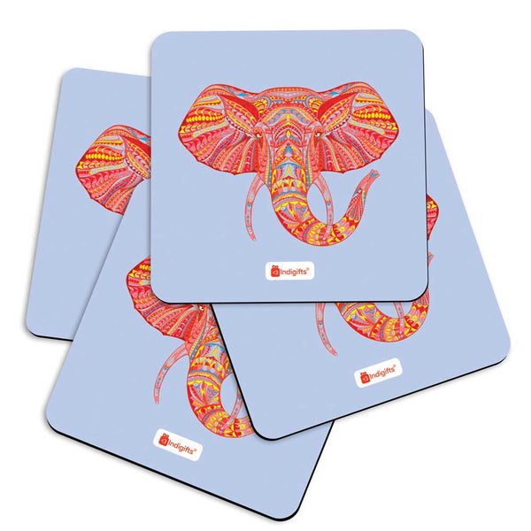 Illustration of Ornamental Elephant's Face Zendoodles Print Blue Coasters