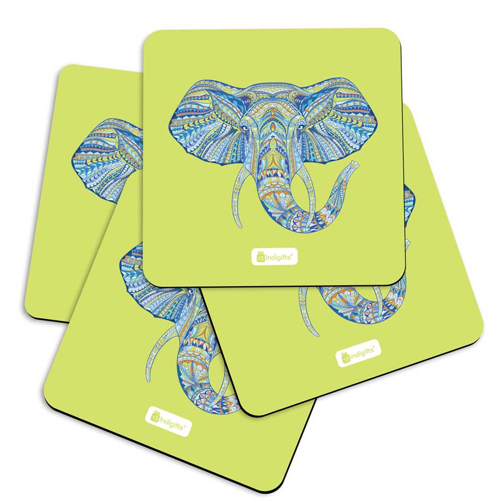 Illustration of Ornamental Elephant's Face Zendoodles Print Green Coasters