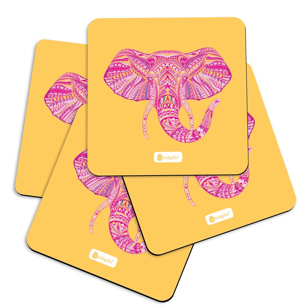 Indigifts Illustration of Ornamental Elephant's Face Zendoodles Print Yellow Coasters