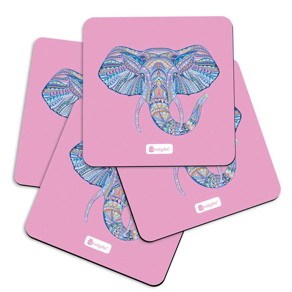 Illustration of Ornamental Elephant's Face Zendoodles Print Pink Coasters