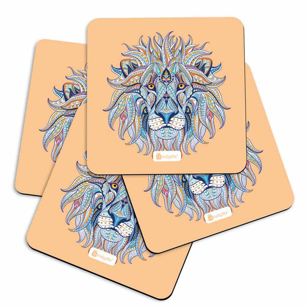 Hand Drawn Ornamental Lion's Head Illustration Decorated with Zentangle Doodle. Brown Coasters