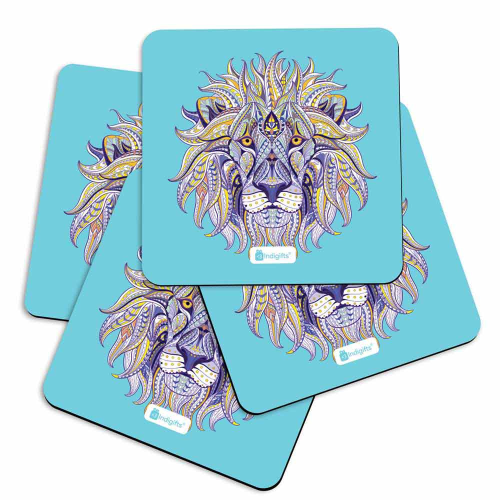 Hand Drawn Ornamental Lion's Head Illustration Decorated with Zentangle Doodle. Blue Coasters