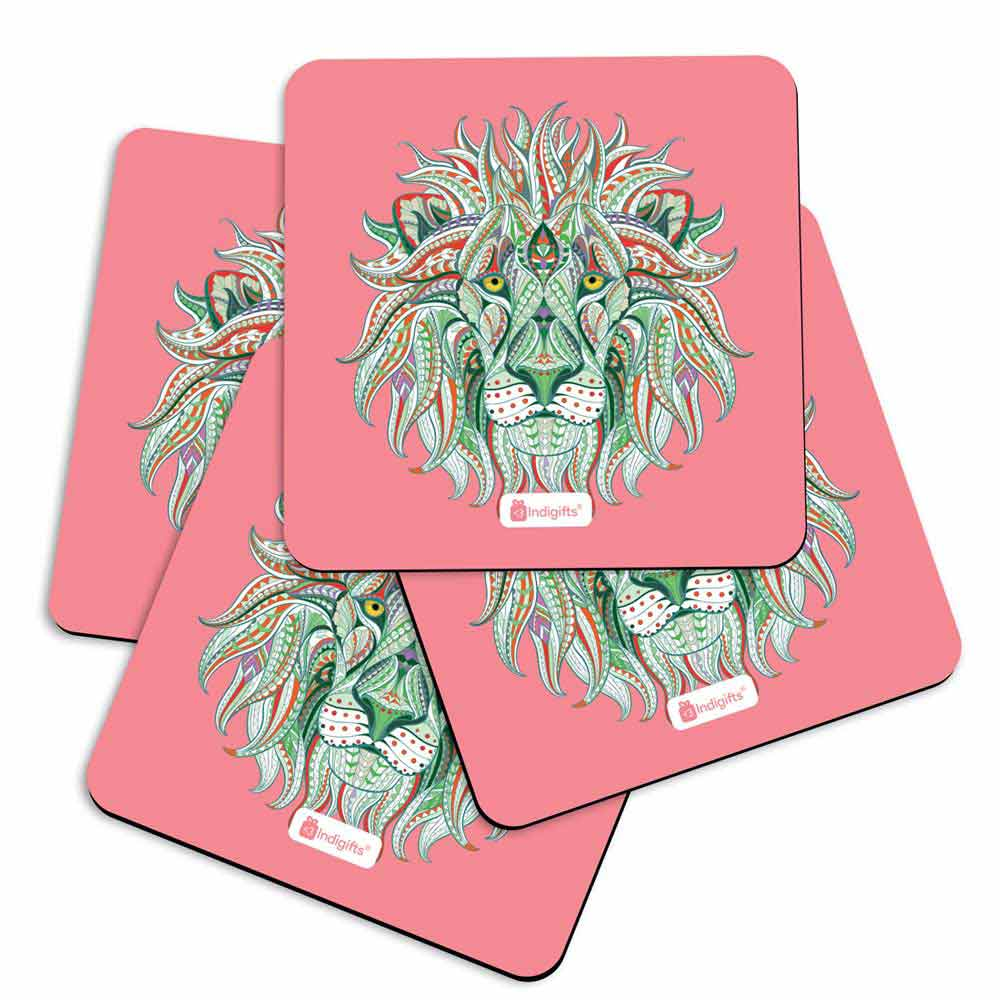Indigifts Hand Drawn Ornamental Lion's Head Illustration Decorated with Zentangle Doodle. Pink Coasters