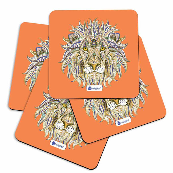 Indigifts Hand Drawn Ornamental Lion's Head Illustration Decorated with Zentangle Doodle. Orange Coasters