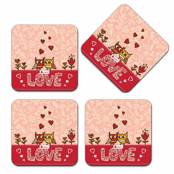 Cute Birds Couple Doodle Pink Coaster