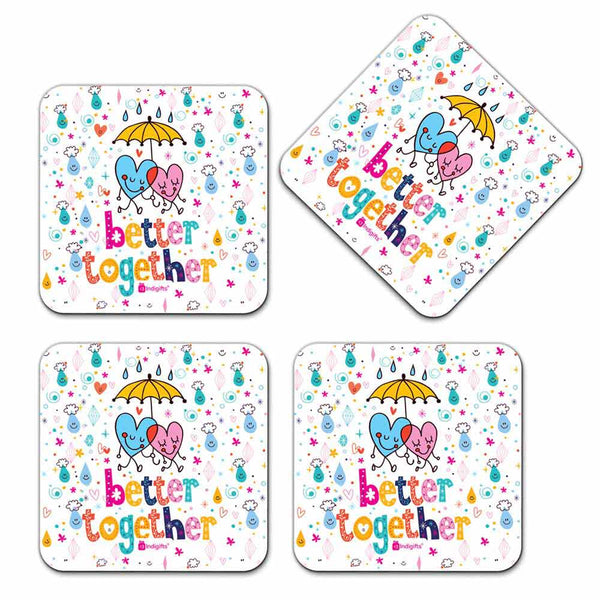 Heart Emoticons White Coaster