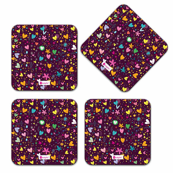 Indigifts Scattered Randomize Pattern Of Love Symbols Purple Coaster
