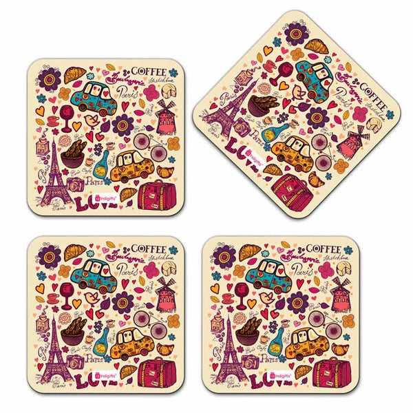 Love Date Party Eiffel Tower Drinks Paris Beige Coaster