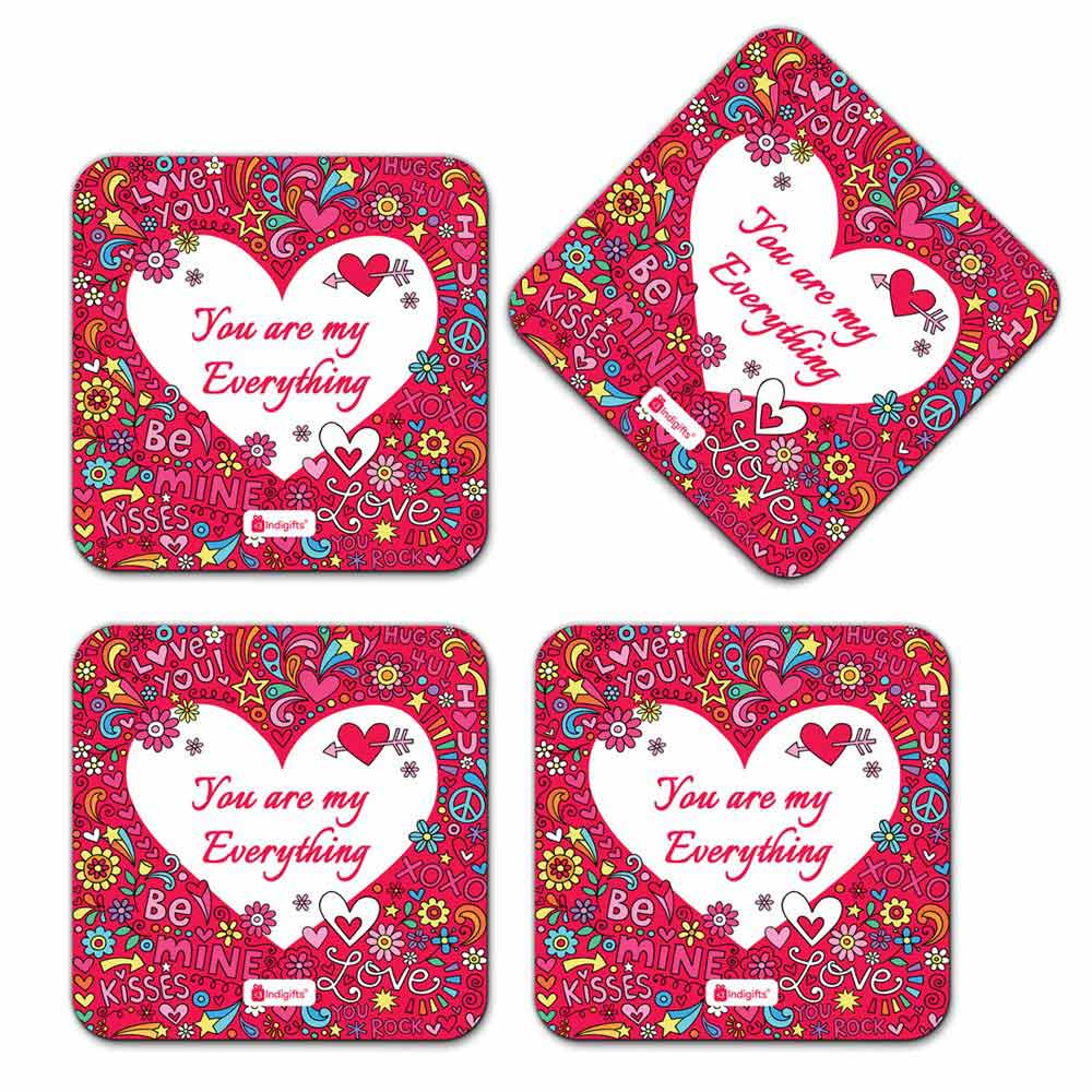 Love Doodle with Flowers Pink Coaster