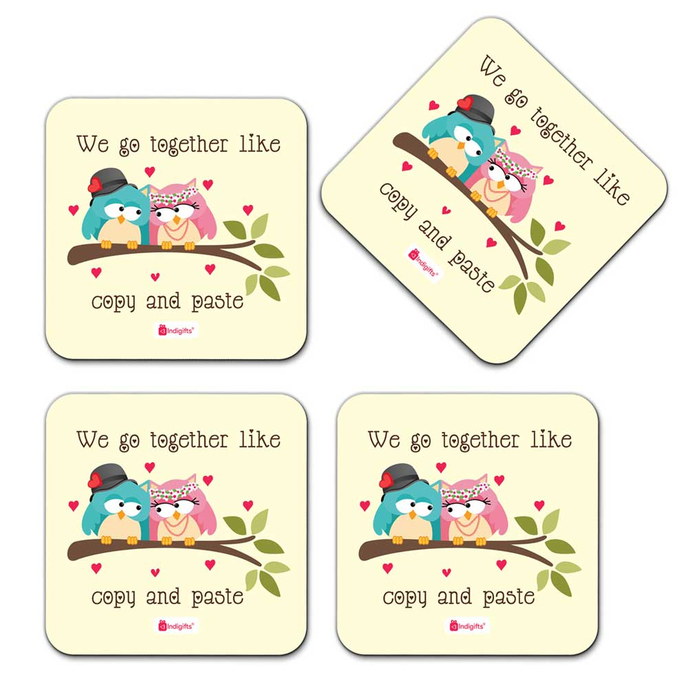 Indigifts Owl Couple Sitting On A Branch With Hearts White Coaster