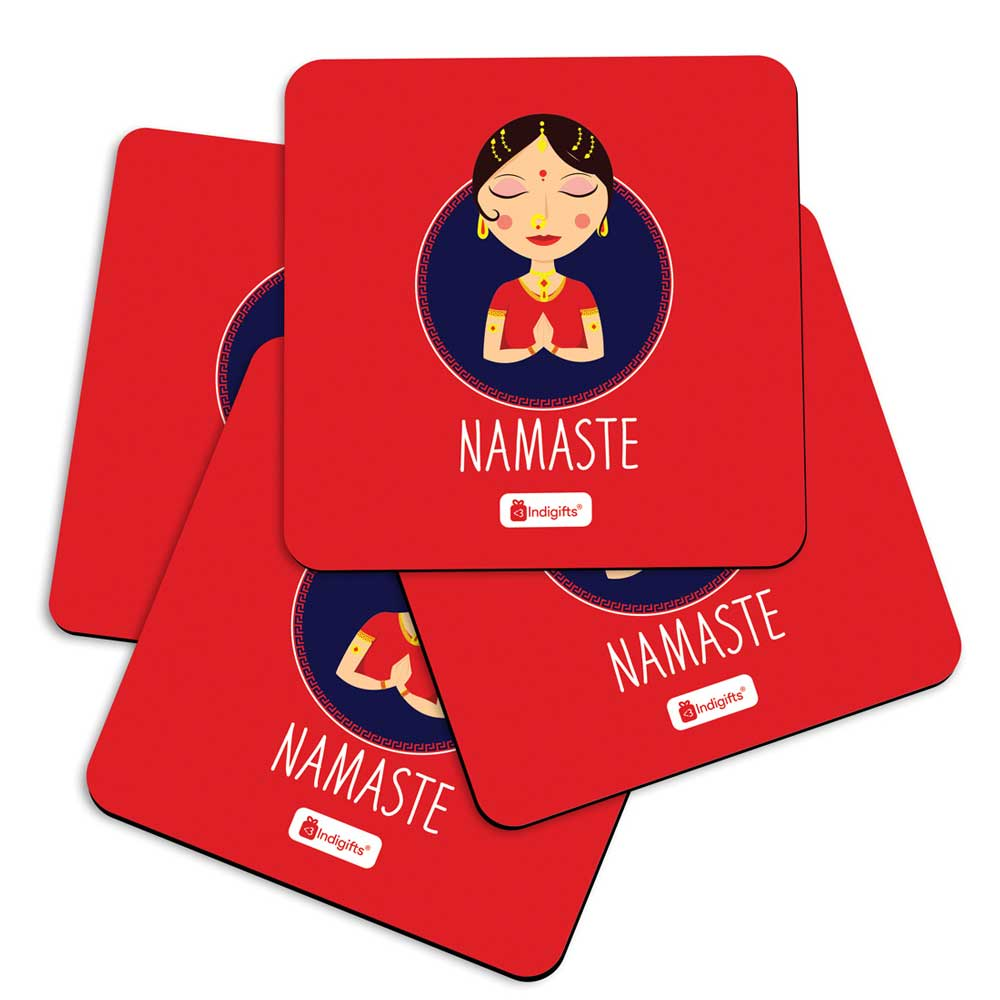 Indigifts Traditional Indian Woman Hand Greeting Posture of Namaste Red Coasters