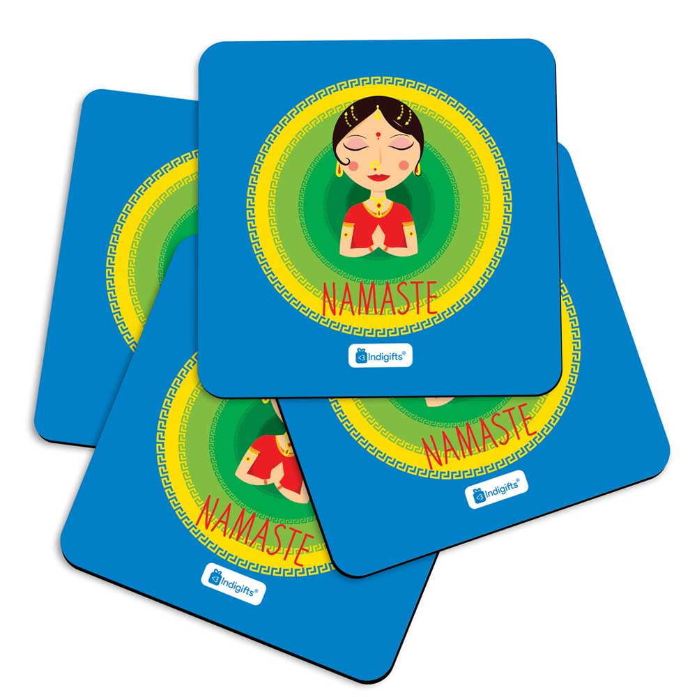 Indigifts Indian Woman Hand Greeting Posture of Namaste with Blur Circle Background. Blue Coasters