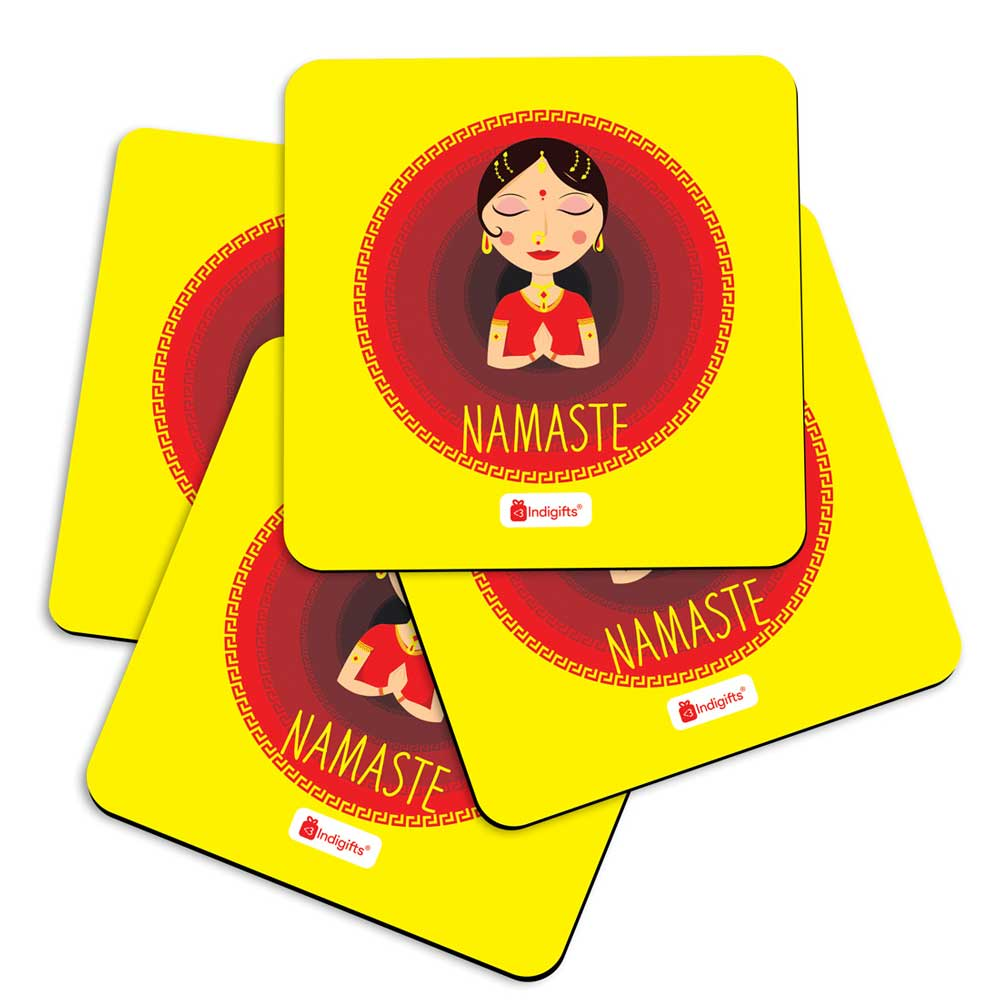 Indian Woman Hand Greeting Posture of Namaste with Blur Circle Background. Yellow Coasters