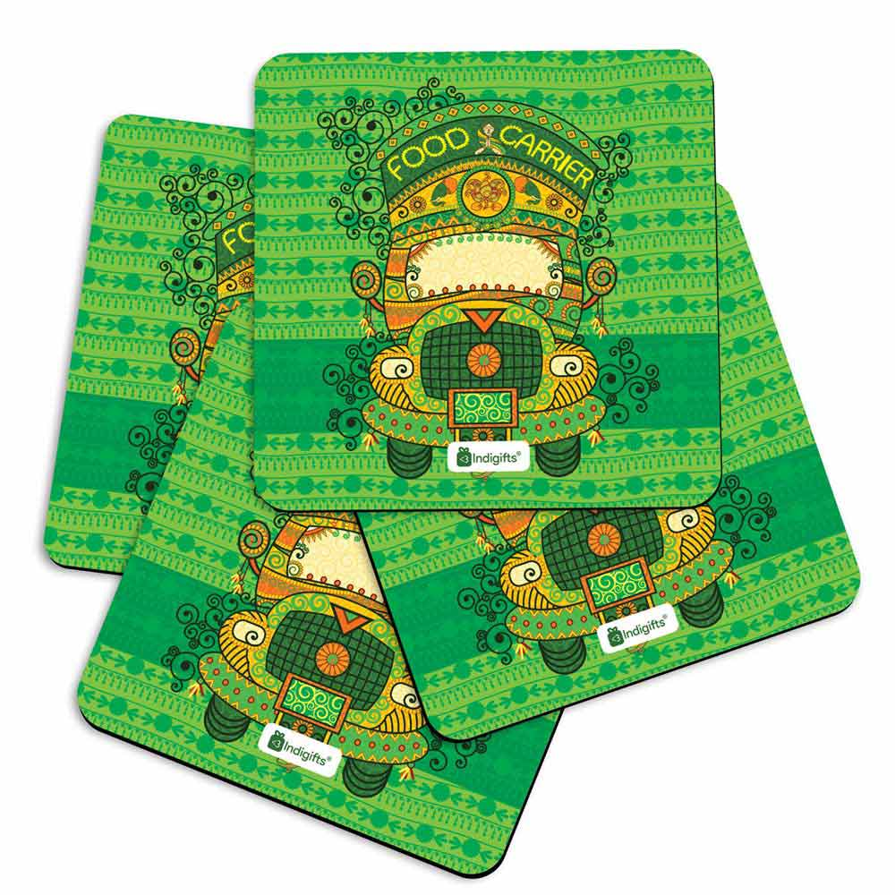 Decorated Truck in Indian Art Style with Ornamental Festive Background Green Coasters