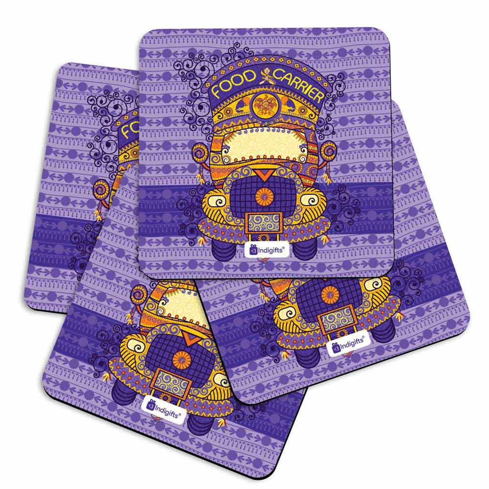 Decorated Truck in Indian Art Style with Ornamental Festive Background Blue Coasters