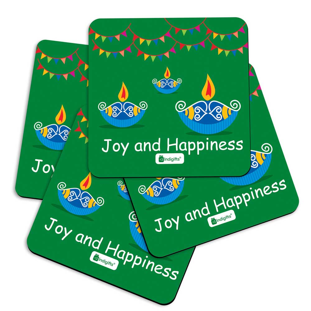 Traditional Lighting Diya with Party Bunting Flags Green Coasters