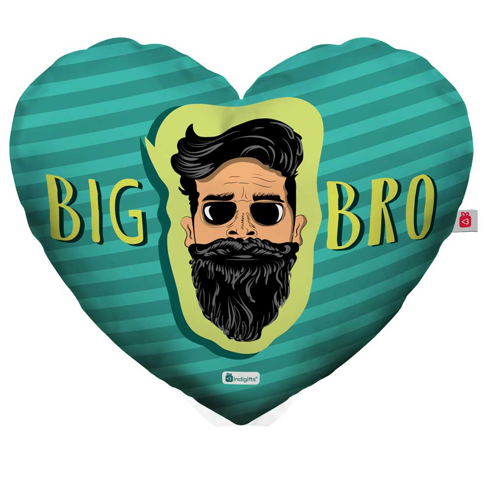 Bearded Brother's Face Hand Illustration Blue Heart Shape Cushion Cover with Filler