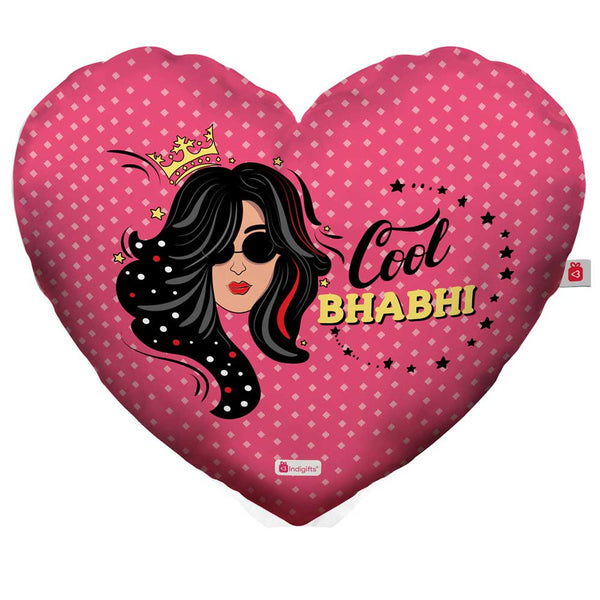 indigifts Hand Illustration Pink Heart Shape Cushion Cover with Filler