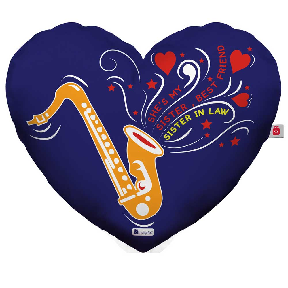Saxophone Doodle Blue Heart Shape Cushion Cover with Filler