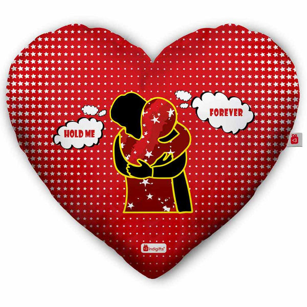 indigifts Hold Me Forever Quote A Loving Couple Hugging Each Other Red Heart Shape Cushion with Filler