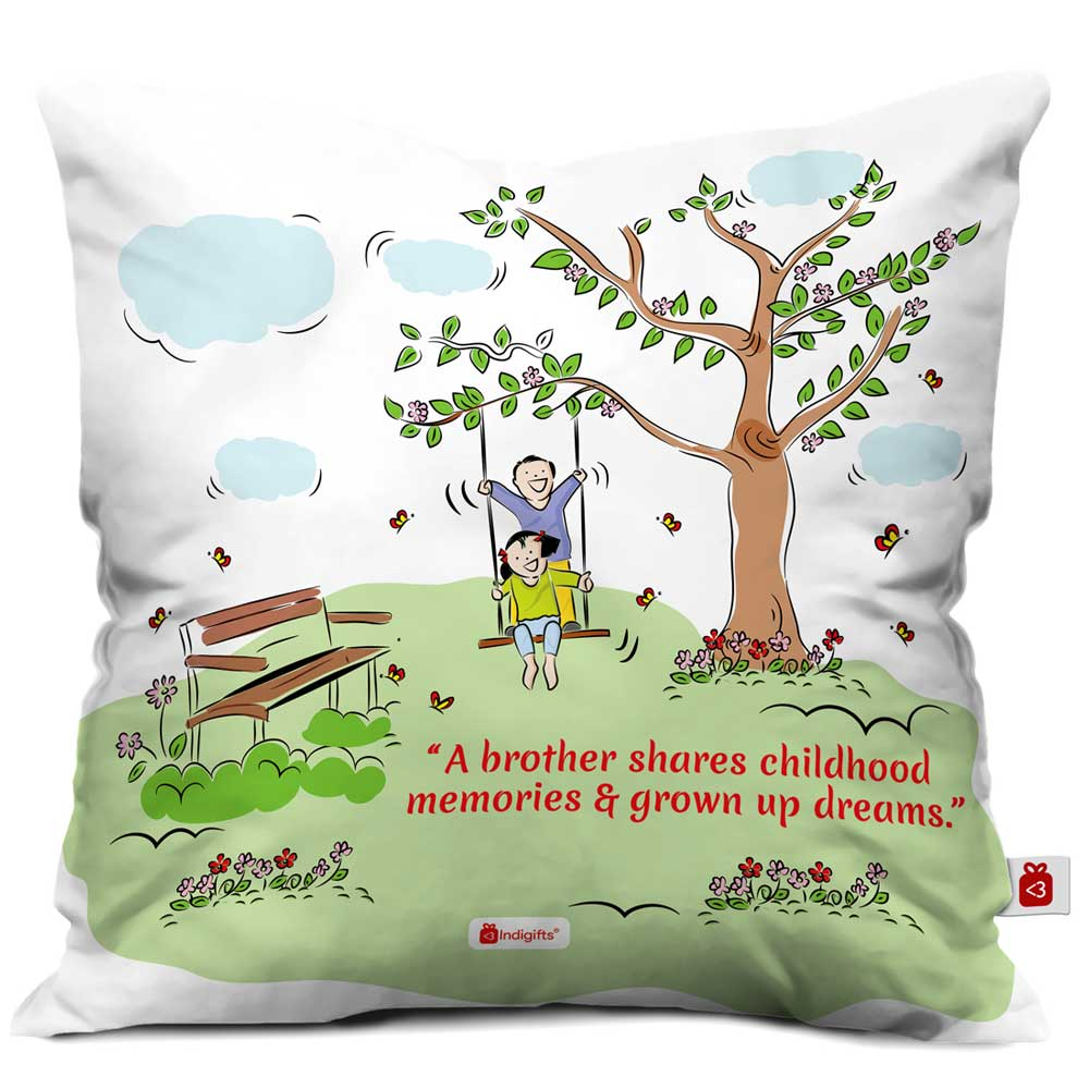 Indigifts Brother & Sister on Swing Multi Cushion Cover