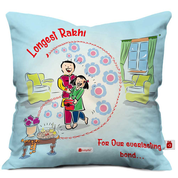 Indigifts Longest Rakhi Blue Cushion Cover