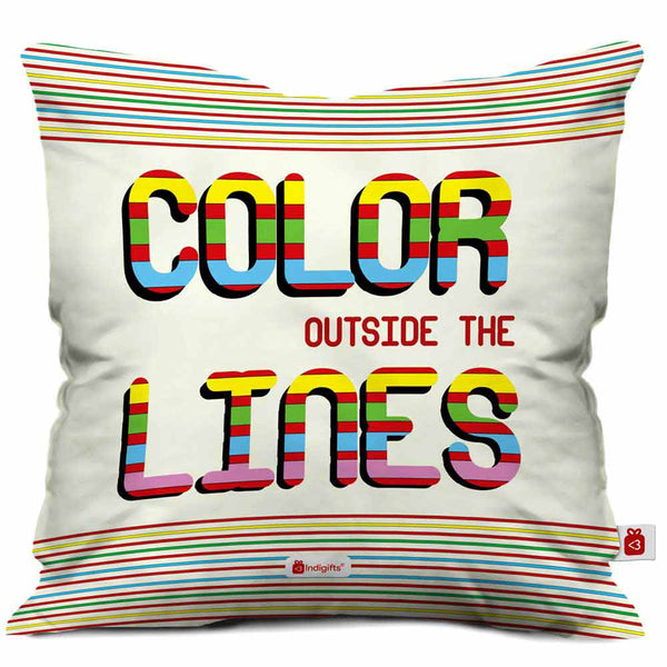 Color Outside The Lines Cushion Cover  Indigifts - With Love Cushion Cover