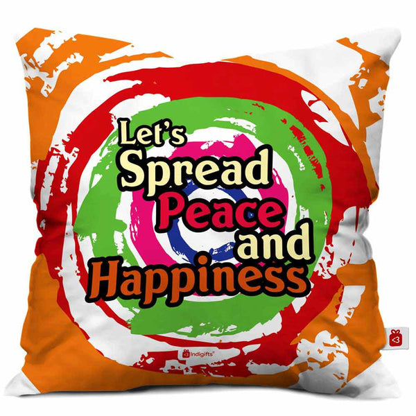 Let's Spread Peace and Happiness Cushion Cover  Indigifts - With Love Cushion Cover