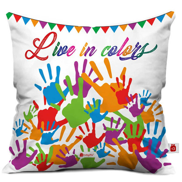Live in Colors Cushion Cover  Indigifts - With Love Cushion Cover