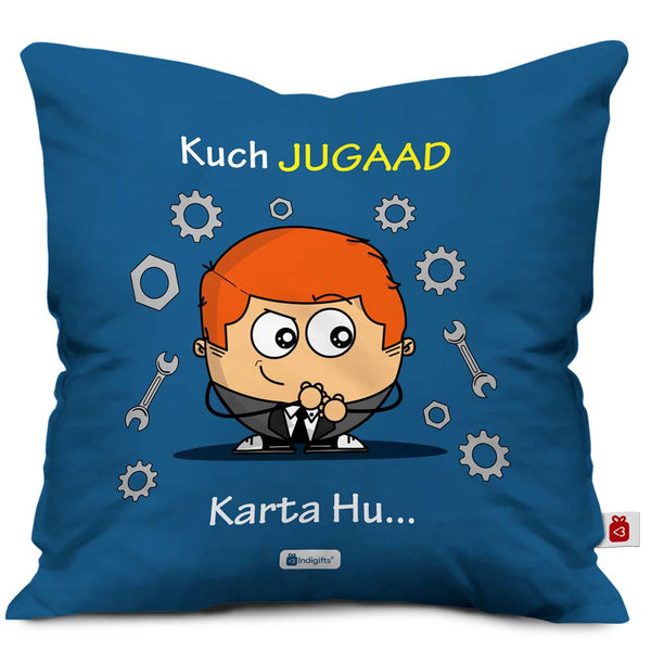 a kid character in suit with witty facial expression designed on blue colored cushion