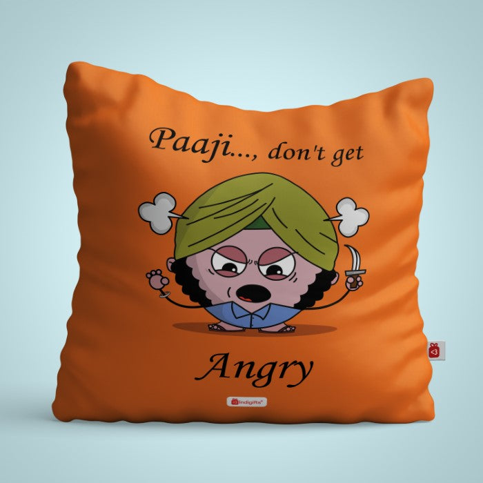 Indigifts Orange Cushion Cover for Angry Buddy