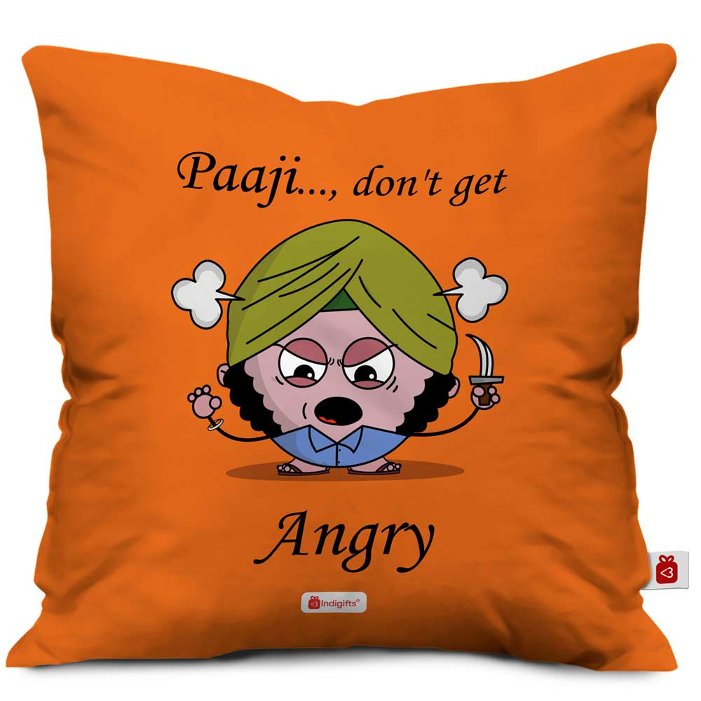 Angry kid character in turban holding blade designed on orange cushion cover