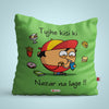 Indigifts Green Cushion Cover for Bhukkad Buddy