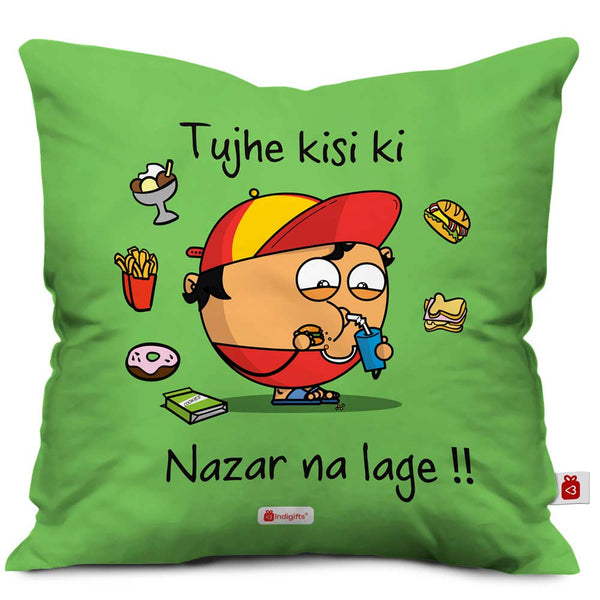 snacks around a fat eating-drinking kid character designed on green cushion cover