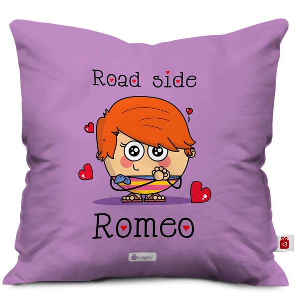 kid in love designed on purple cushion cover