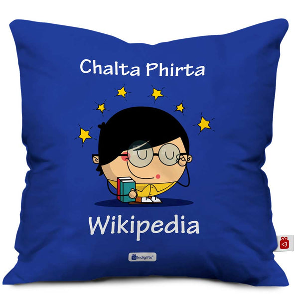kid character adjusting spectacles and holding books designed on blue cushion cover