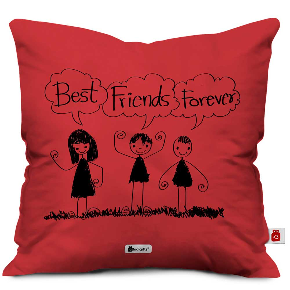 Indigifts Best Friends Forever Red Cushion Cover