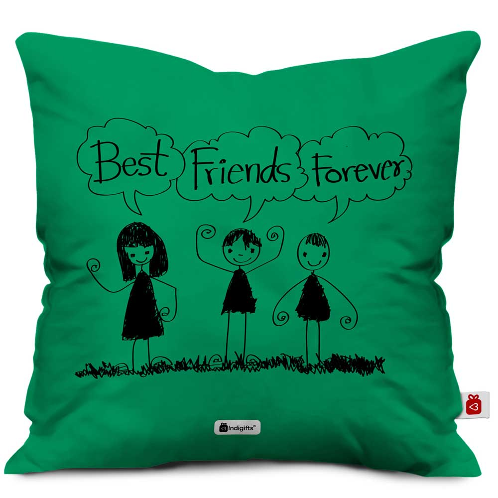 Indigifts Best Friends Forever Green Cushion Cover