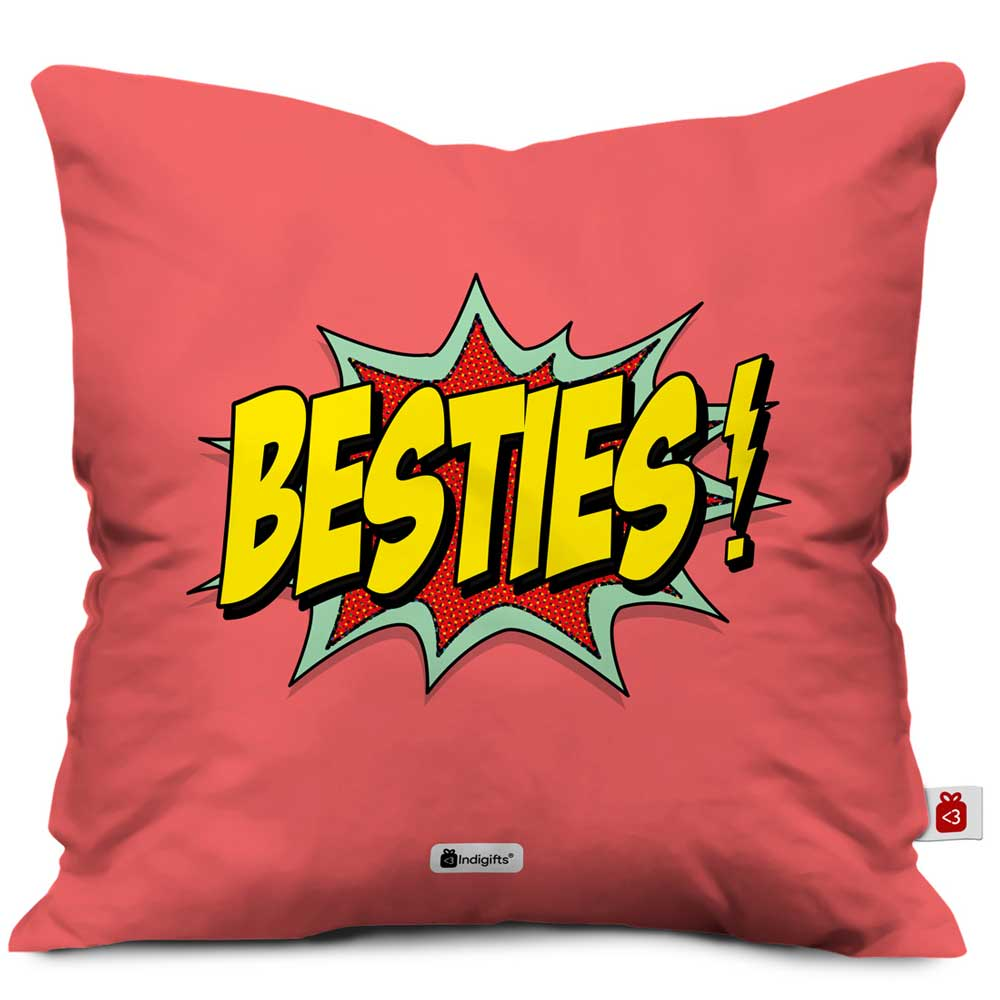 Indigifts Besties Pink Cushion Cover