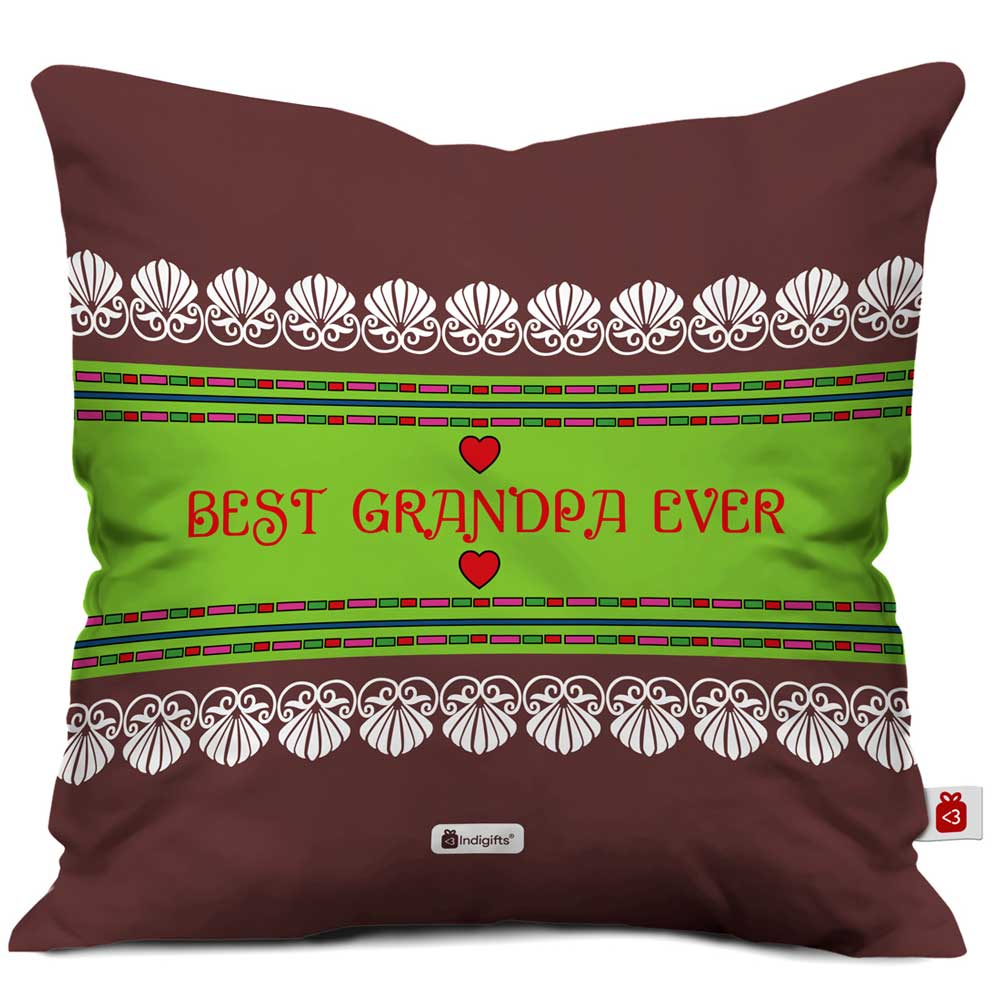IndigiftsBest Grandpa Ever Quote Traditional Folk Art Border Print Brown Cushion Cover