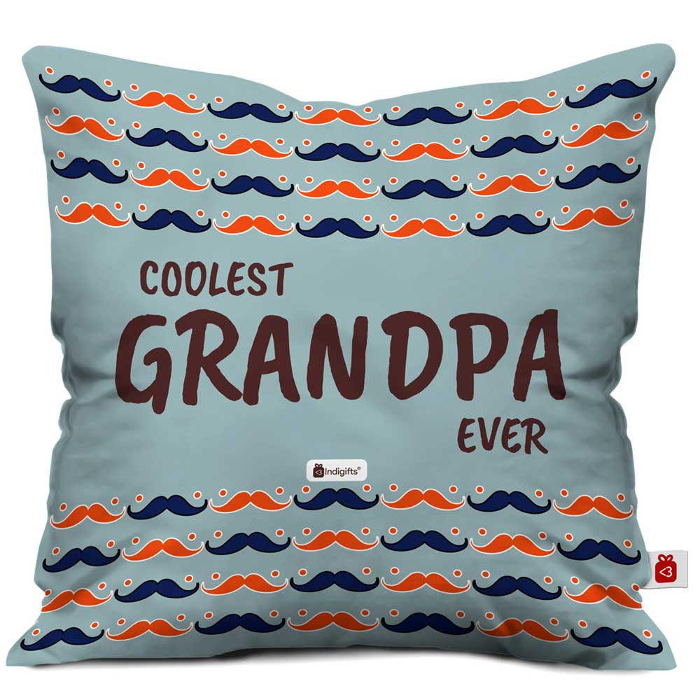 Indigifts Coolest Grandpa Ever Quote Seamless Moustache Retro Pattern Grey Cushion Cover