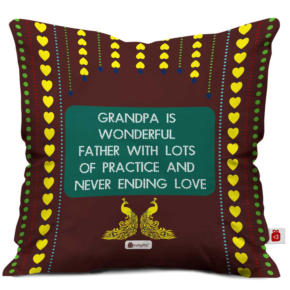 Indigifts Grandpa is Wonderful with Lots of Practice Quote Traditional Folk Art Print Brown Cushion Cover
