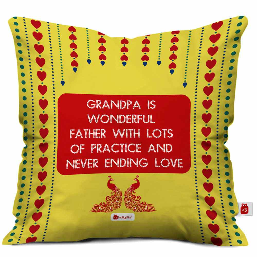 IndigiftsGrandpa is Wonderful with Lots of Practice Quote Traditional Folk Art Print Yellow Cushion Cover