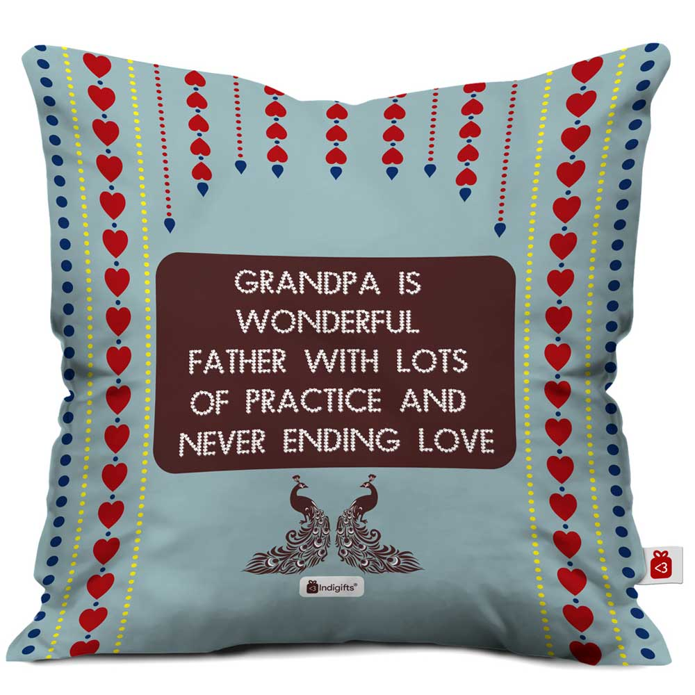 Indigifts Grandpa is Wonderful with Lots of Practice Quote Traditional Folk Art Print Grey Cushion Cover