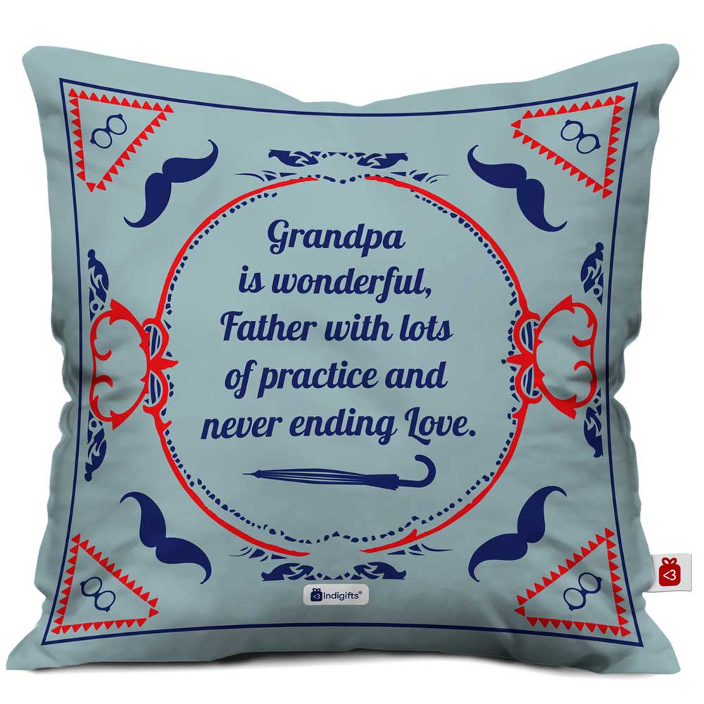 Indigifts Grandpa is Wonderful with Lots of Practice Quote Vintage Classical Design Print Grey Cushion Cover